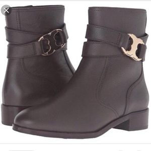 Tory Burch Gemini Link Brown Ankle Boots